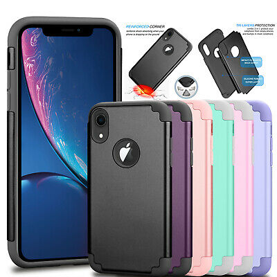 For iphone XR XS 6 7 8 Plus Luxury Case Shockproof Slim Rugged Rubber Hard Cover