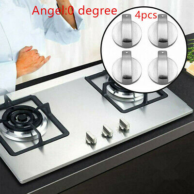 Universal Gas Stove Knobs Cooker Oven Hob Control Knobs Switch 6mm Silver 4 pcs