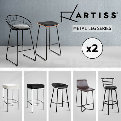 Artiss Bar Stools Kitchen Bar Stool Chairs Barstools Metal Black Leather Fabric