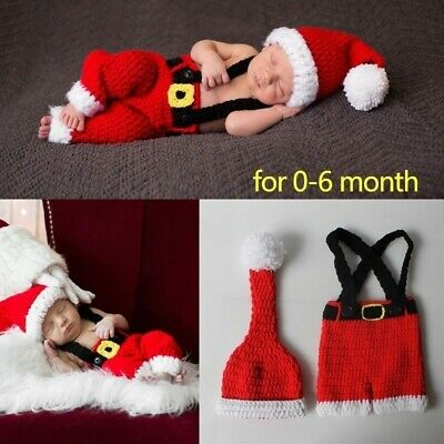 0-6month baby Photography prop Clothing Baby Christmas Theme Red Knitted Costume
