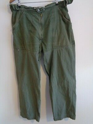Vtg 50s 60s French OD WW2 style paratrooper para army work chore trousers pants