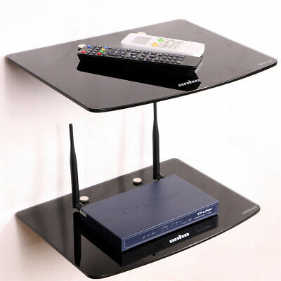Modern 2 Tier Floating  Wall Mount Shelves Unit Media DVD WIFI Storage Shelving
