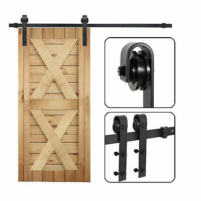 Black 6.6 FT Carbon Steel Sliding Track Barn Wood Door Closet Hardware Set