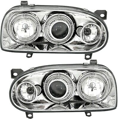 Angel Eyes Scheinwerfer Set für VW Golf 3 III 91-97 in Klarglas Chrom + Adapter