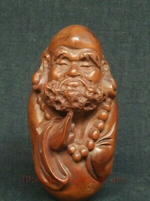 Collected Ancient China Boxwood Wood Hand Carved Dharma Buddha Statue Decoration
