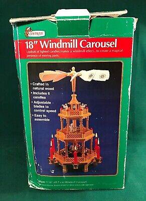 """18"""" Christmas toy train rocking horse 3 tier windmill candle carousel pyramid"""