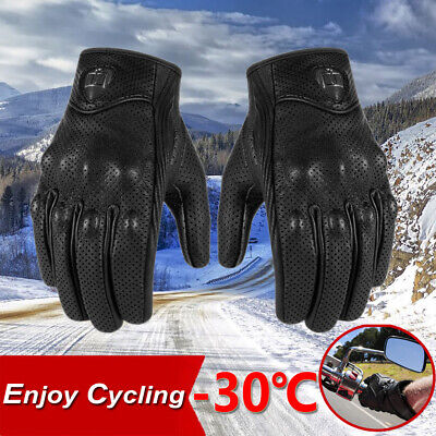Leather Cycling Gloves Full Finger Motocross BMX MTB Mountain Road Bike Racing a