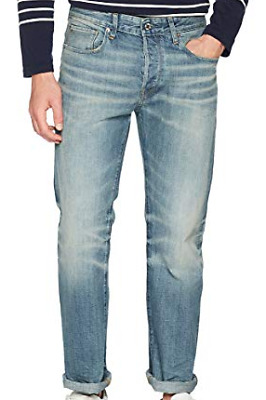 Details about G star Raw 3301 Straight Rugby Destroy Mens Size 30W 34L Light Blue *32