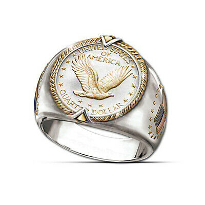 Men's Plated s925 Silver Viking Eagle Ring Hip Hop Two Tone 18K Gold Ring 7-12
