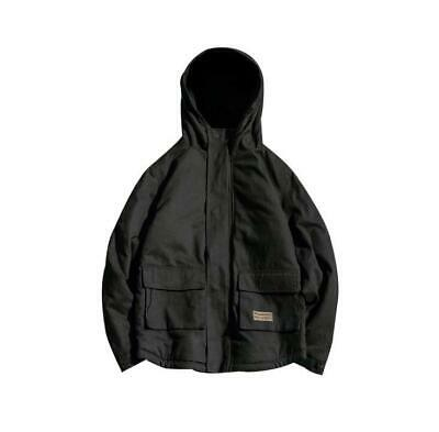 Mens Fashion Fleece Lined Hooded Jacket Cotton Solid Overcoat Outwear China Size
