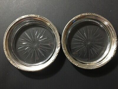 2 Antique Amston Sterling Silver Wine Bottle Coasters