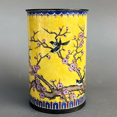 Rare Collectible Chinese Cloisonne Handwork Plum Blossom& Magpie Old Brush Pot
