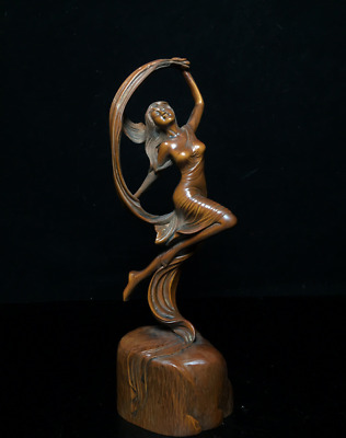 """8.07"""" Old Chinese Boxwood hand-carved beautiful woman Statue"""