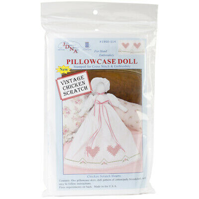 Jack Dempsey Stamped White Pillowcase Doll Kit-Chicken Scratch Hearts, 1900 514