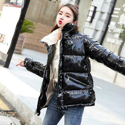 New Women Winter Down Padded Coat Girls Oversize Warm Shiny Glossy Jacket Hiphop