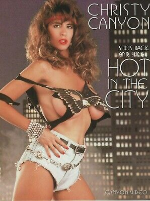 "CHRISTY CANYON Rare Original Vtg HOT IN THE CITY 8.5""x11"" 2-sided promo photo"