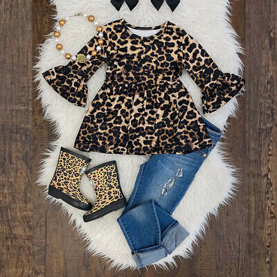 2PCS Toddler Kids Baby Girl Leopard Flare Long Sleeve Dress Tops Jeans Pants Set