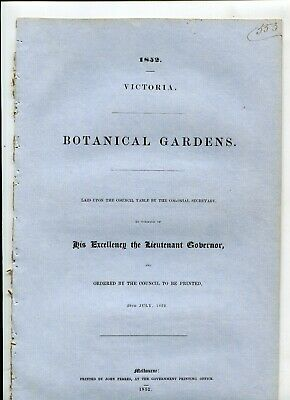 Botanical Gardens Victoria 1852 Catalogue plants in the Gardens 12 pages