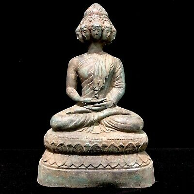 Thailand Cambodian Khmer Old Millionaire Buddha Statue Bronze For Wealth 9 Heads