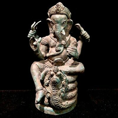 Ancient Cambodian Khmer Thai Elephant Buddha Statue Bronze Ganesha On Cobra Naga