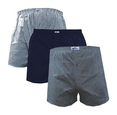 2x to 6x Pack Mens Woven Boxer Shorts Soft Cotton Check Loose Fit Underwear