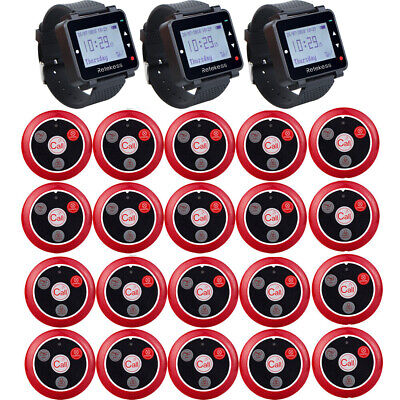 Retekess Wireless Bedienung Restaurant Call System:3Watch Receiver+20Call Pagers