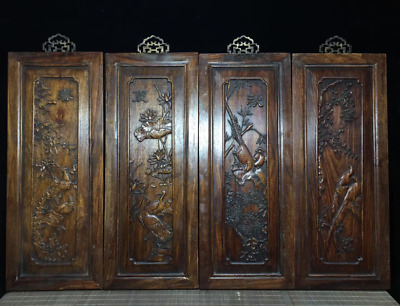 "17.71"" Old Chinese Huanghuali Wood Spring, summer, autumn and winter Four screen"