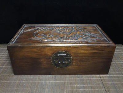 Old China Huanghuali Wood Noble Collection Lotus Mandarin Duck Chest Box Bin