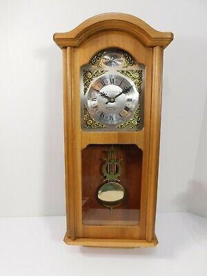 Daniel Dakota Light Oak Quartz Pendulum Westminster Chime Wall Clock