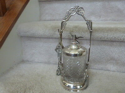 """GREAT! ANTIQUE Victorian Silverplate Pickle Castor w/ Bird Finial and Tongs 11"""""""