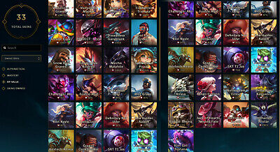 North America | League of Legends Account | Unranked | 90 Champions 33 Skins