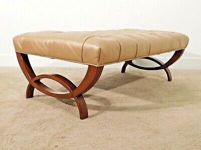 Thomas Pheasant for BAKER Furniture Company Directoire Tufted Leather Ottoman