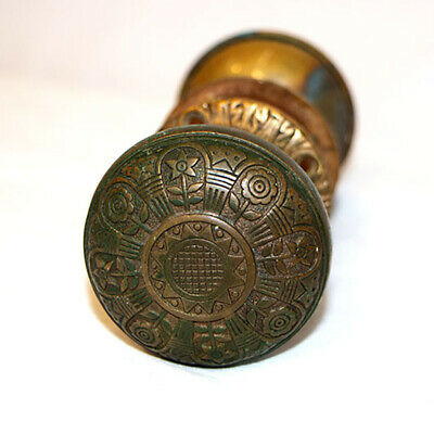 Antique Victorian Eastlake Door Knobs and Faceplates Ornate Brass Floral Pattern