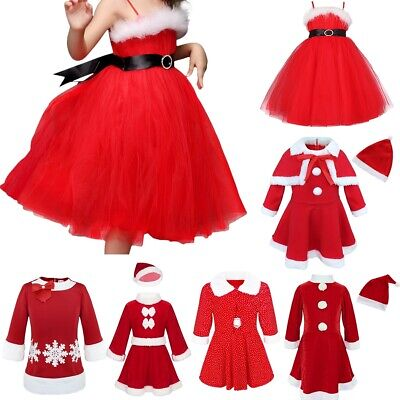 Kids Girls Baby Christmas Santa Claus Dress Xmas Party Fancy Costume Hat Outfit