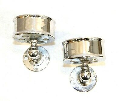 Antique Toothbrush Holder Bathroom Cup Wall Mounted Chrome Sink Accessory PAIR