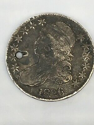 1826 Capped Bust Half Dollar 50c U.S. Silver Type Coin ~Holed!