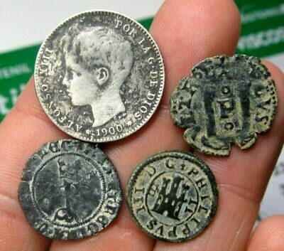 Lot 4 Dated Pirate Treasure Cobs Spanish Maravedis Colonial Old Coins