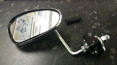 Legshield Clamp On Mirror Chrome Kidney Shape Fit's Lambretta & Vespa