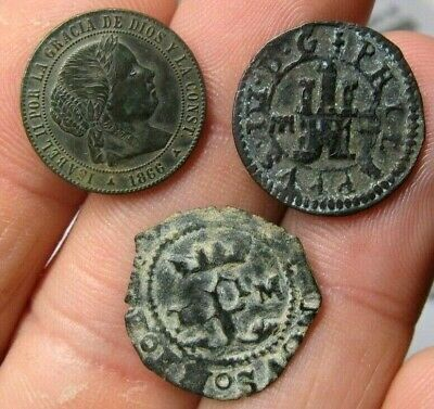 Lot 3 Dated Pirate Treasure Cobs Spanish Maravedis Colonial Old Coins (3)