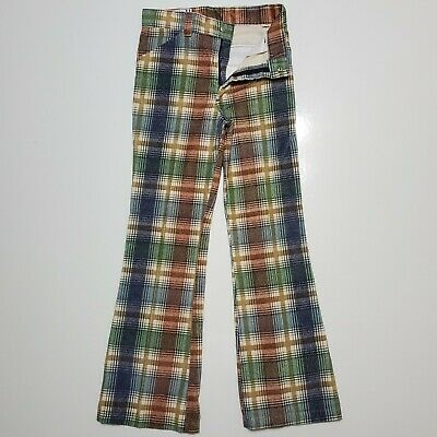 1970s Billy THE KID Corduroy Plaid Check Flare Pants Vintage USA Made Western