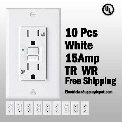 GFCI 15 AMP GFI (10PACK)Receptacle Outlet TAMPER RESISTANT TR WR WHITE UL GFCI