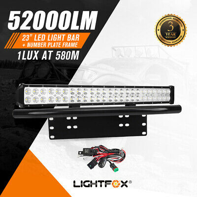 23Inch Led Light Bar +Number Plate Frame w/ Wiring Loom Harness Offroad 4WD