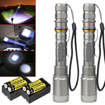 Tactical 990000Lumen T6 LED Flashlight 5 Modes Zoomable Rechargeable 18650 Torch