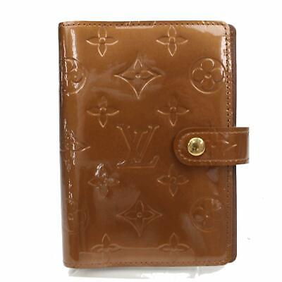 Authentic Louis Vuitton Diary Cover Agenda PM Browns Vernis 1105825