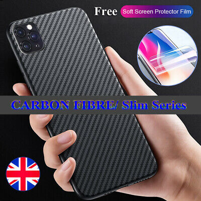 Case For iPhone 11 Pro XR XS Max Shockproof Carbon Fibre Silicone Phone Cover