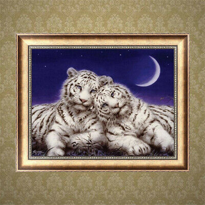 DIY 5D Diamond Embroidery Painting Cross Stitch Kit two tigers Home Deco:Bl P5S1