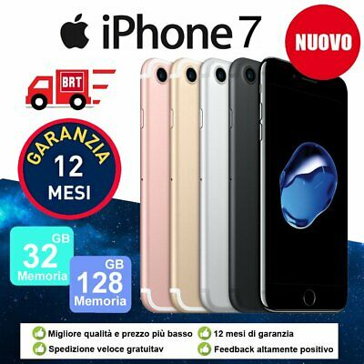 Nuovo Apple Iphone 7 32Gb 128Gb Sbloccato Ios + Accessorie + Garanzia 12 Mesi It