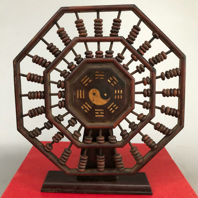 "9.05"" Old China Hualimu Wood Noble Collection Eight Diagrams abacus statue"