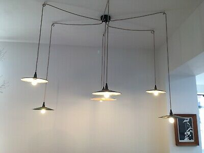 Rewired Vintage French Industrial Green Enamel Coolie Pendant Light Lamp Fitting