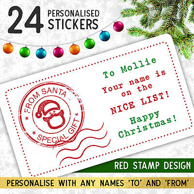 24 Personalised Christmas Stickers from Santa Father Christmas Gift Tags Labels